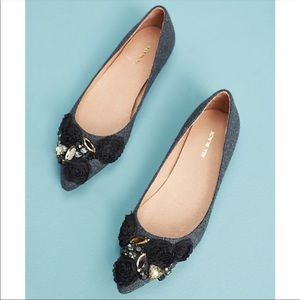 Anthropologie All Black Flannel Almond Toe Flats